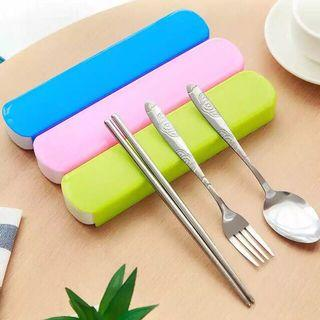 3 in 1 Spoon Fork & Chopsticks with Case Set