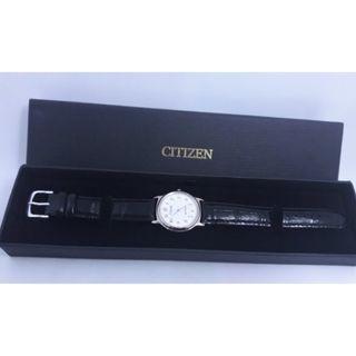 CITIZEN星辰圓形白色皮帶石英錶,附盒子