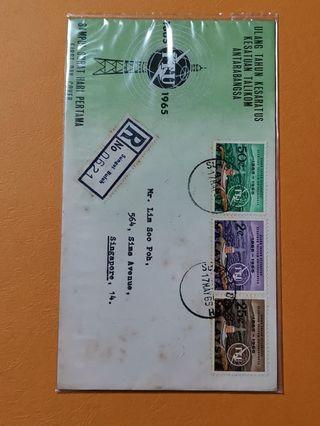 Malaysia 1965 ITU Centenary F.D.C S'pore Local Post Mark