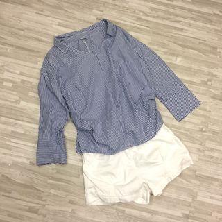 🚚 全新韓版 直條紋休閒襯衫上衣