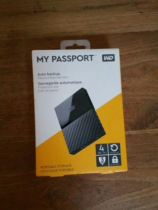 "New WD 4TB Western Digital 2.5"" 4TB Portable HDD Hard Disk Drive My Passport 4.0 TB external"