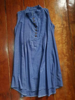Blue denim style dress (small to medium frame)