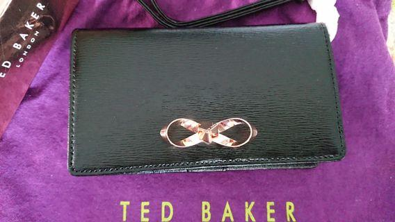 Ted Baker Phone Wallet with Strap Black and RoseGold metal