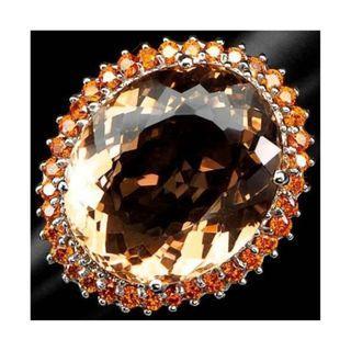 Huge Untreated Peach Orange Morganite Ring in 925 Sterling Silver