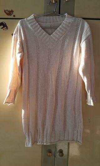 *冬裝特價*白色針織長版上衣(洋裝)
