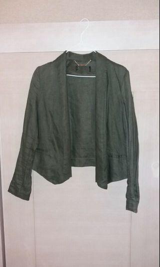 Mango Linen Khaki Green cropped blazer top