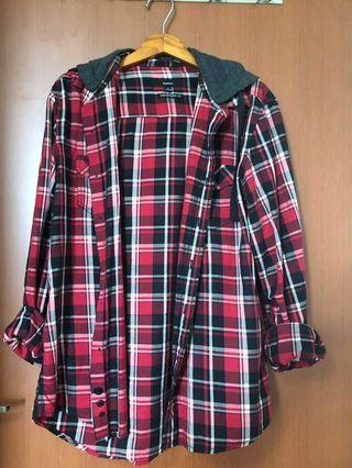 Red flannel hooded shirt Bossini