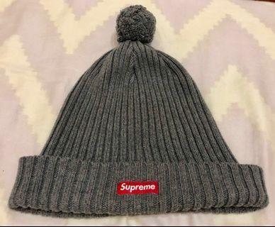 Supreme 經典灰色 boxlogo毛球毛帽