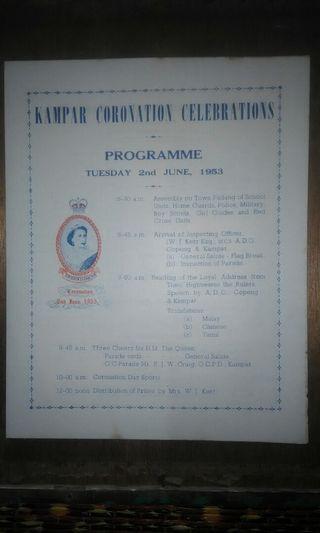 KAMPAR CORONATION CELEBRATIONS PROGRAMME 1953..
