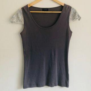 Grey WITCHERY top embroidered sequin sleeves size M 12-14
