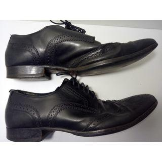 Bally Dalberg Men's Black Leather Oxford Wingtip Dress Shoes