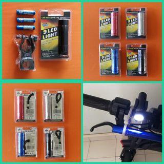 🆕Bicycle e.scooter bike PMD 9-LED front torchlight (choice; red, blue, silver or black)length 850mm, diameter 22mm c/w swivel holder & 3 AAA size battery. BNIP脚踏车自行车电动车夜行前光二极管白灯或手电筒