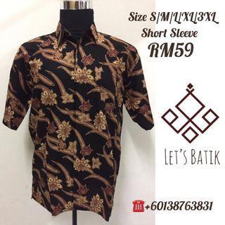 Kemeja Batik Short Sleeve Size S/M/L/XL/3XL