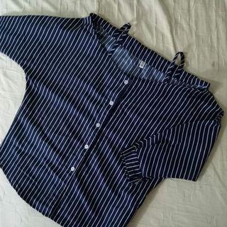 🚚 直條紋七分袖一字領襯衫