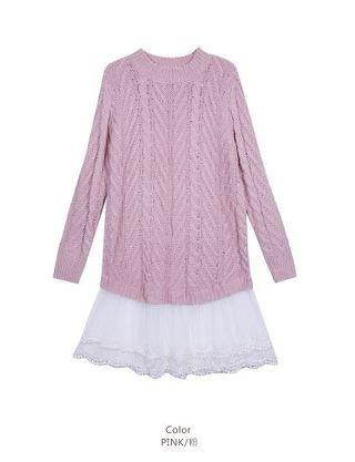 🚚 粉色毛衣蕾絲裙
