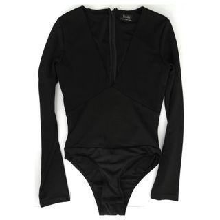 Bardot Ladies Black Long Sleeve V-Neck Bodysuit | Size 6