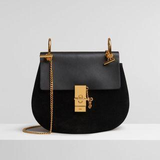 Chloe drew small black leather/suede