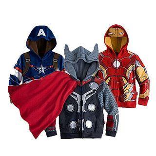 👶Toddlers Children Boy Fashion Avengers Superhero Characters Cartoon Hooded Zip Outerwear  Hoodie Coat Jackets