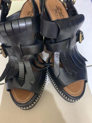 義大利samtoni精品黑色粗跟涼鞋