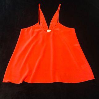 Gorgeous WITCHERY 100% silk top size 12 or M watermelon red