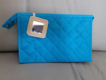 Makeup quilted bag/pouch with mirror and many compartments