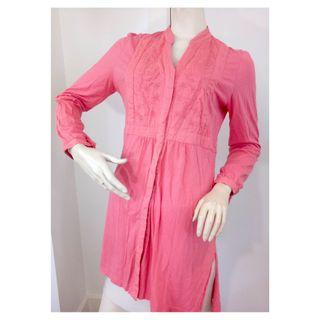 Blue Illusion Pink Long Sleeve Tunic Blouse Top | Size Large