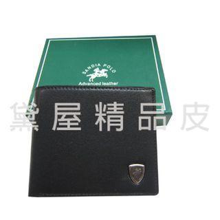 ~雪黛屋~SANDIA-POLO 短夾專櫃男仕短夾100%進口軟牛皮標準尺寸固定型證夾附品牌禮盒BSD01121560