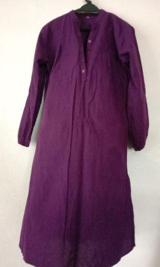 Blouse Labuh Dark Purple Cotton with Wrist Grip