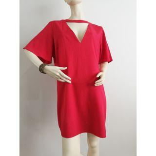 Boohoo Size 18 Red V Neck Bell Bottom Short Sleeve Dress