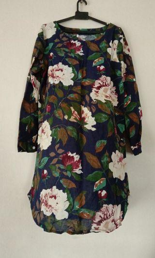 Floral Blouse Dark Blue Color