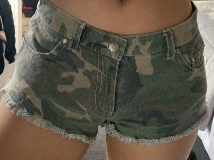 stussy camo print denim shorts