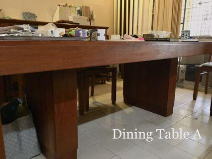 Large Teak 1930s Art Deco Colonial Era Dining Table with 6 Teak & Cane Chairs.