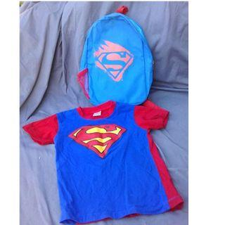 Superman Backpack and T-Shirt