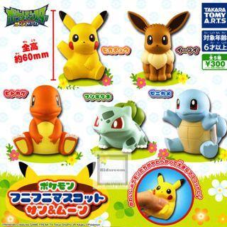 Pokemon 軟膠掛件公仔扭蛋 全5種 寵物小精靈 精靈寶夢可 比卡超 伊貝 小火龍 車厘龜 奇異種子