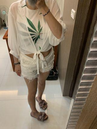 渡假風背心+雪紡罩衫 2件一起賣
