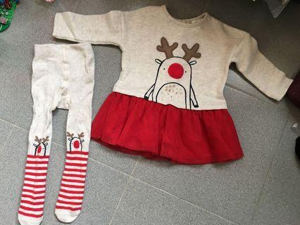 Next baby Xmas red dress with sock(6-9 months)