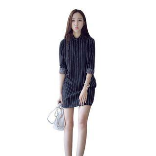 🚚 BN Black Stripe Button Up Dress