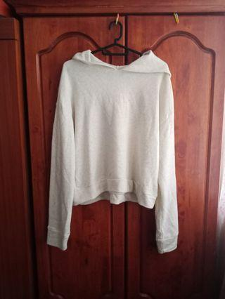 White Cream Hoodie Crop Top