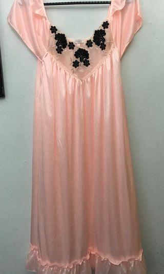 Peach Satin Sleeping Gown