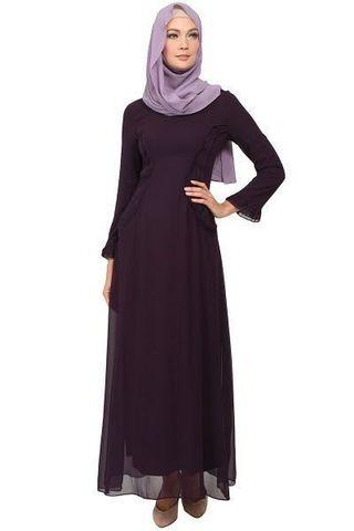 POPLOOK OCCASION Julissa Side Ruffle Maxi Dress - Dark Purple