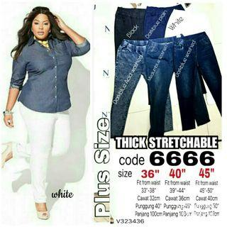 PLUS SIZE STRETCHABLE THICK JEANS - instock limited