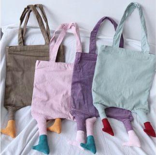 萌翻 文青 藝術 手工 腳包 小腳包 肩背包 帆布袋 購物袋 四色