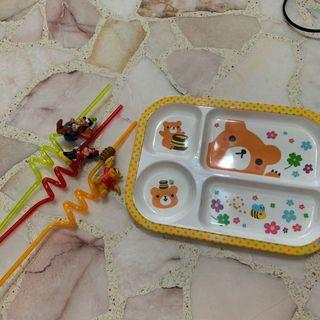 🚚 Kids plate and Minnie Mouse , Pooh bear & Donald Duck straws #ENDGAMEyourEXCESS