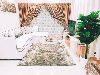 L-shape white sofa