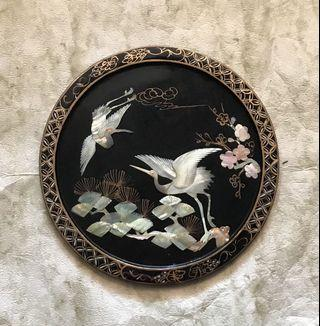 """12"""" Chinese lacquer Sea Shell Crane art frame"""