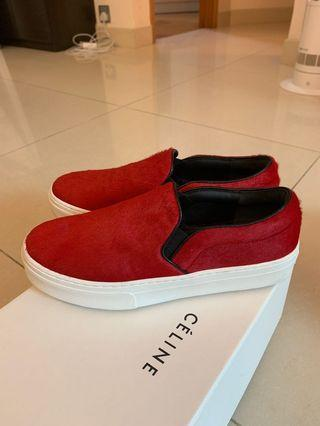 Celine slip on sneakers shoes Red Pony Hair