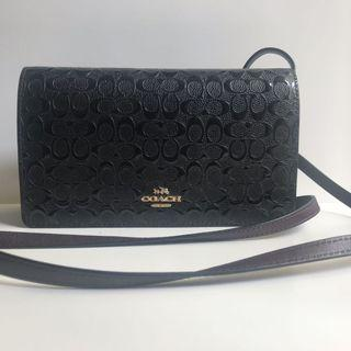 Coach F15620 Foldover Crossbody Clutch in Signature Debossed Patent Leather