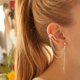 🚚 [PO] Leaf Tassel Dangle Ear Cuff