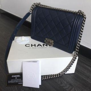 Chanel Quilted Boy New Medium Navy