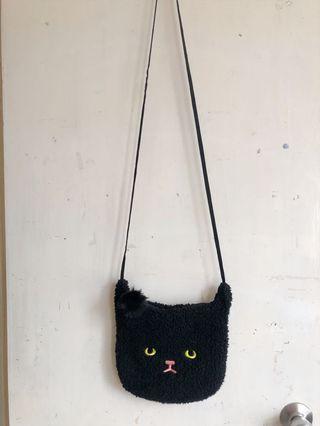 Black cat cute side bag mini bag